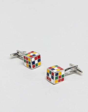 Moss London Cufflinks In Rubix Cube - Silver