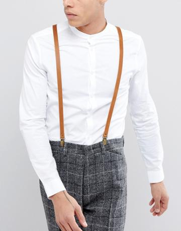 New Look Leather Suspenders In Brown - Brown
