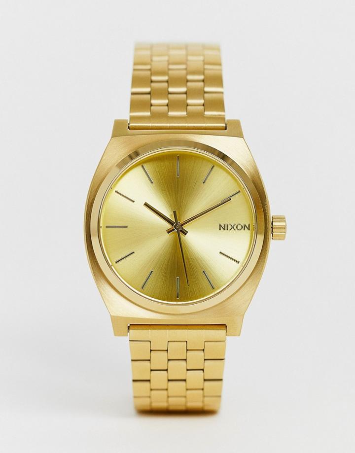 Nixon Time Teller Bracelet Watch In Gold