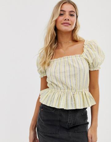 Miss Selfridge Peplum Top With Puff Sleeves In Stripe - Yellow