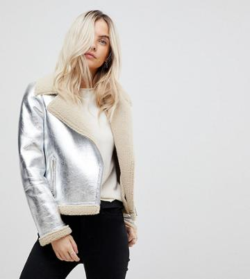Vero Moda Petite High Shine Metallic Aviator Jacket - Silver