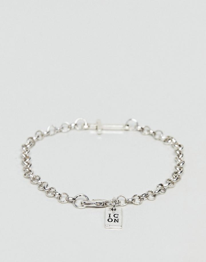 Icon Brand Silver Chain Bracelet With Cross - Silver
