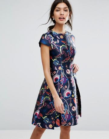 Ted Baker Folk Foliage Skater Dress - Multi