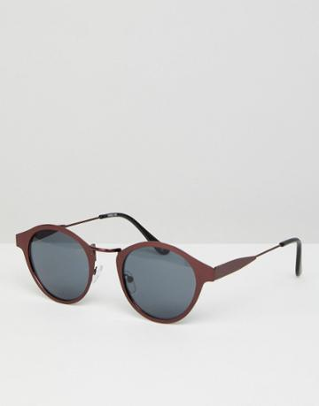 Asos Round Sunglasses In Brushed Copper Metal With Smoke Lens - Copper