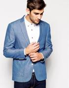 Asos Slim Fit Blazer In Chambray - Blue