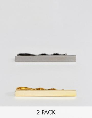 Asos 2 Pack Super Skinny Tie Bar In Gold Plated And Gunmetal - Multi