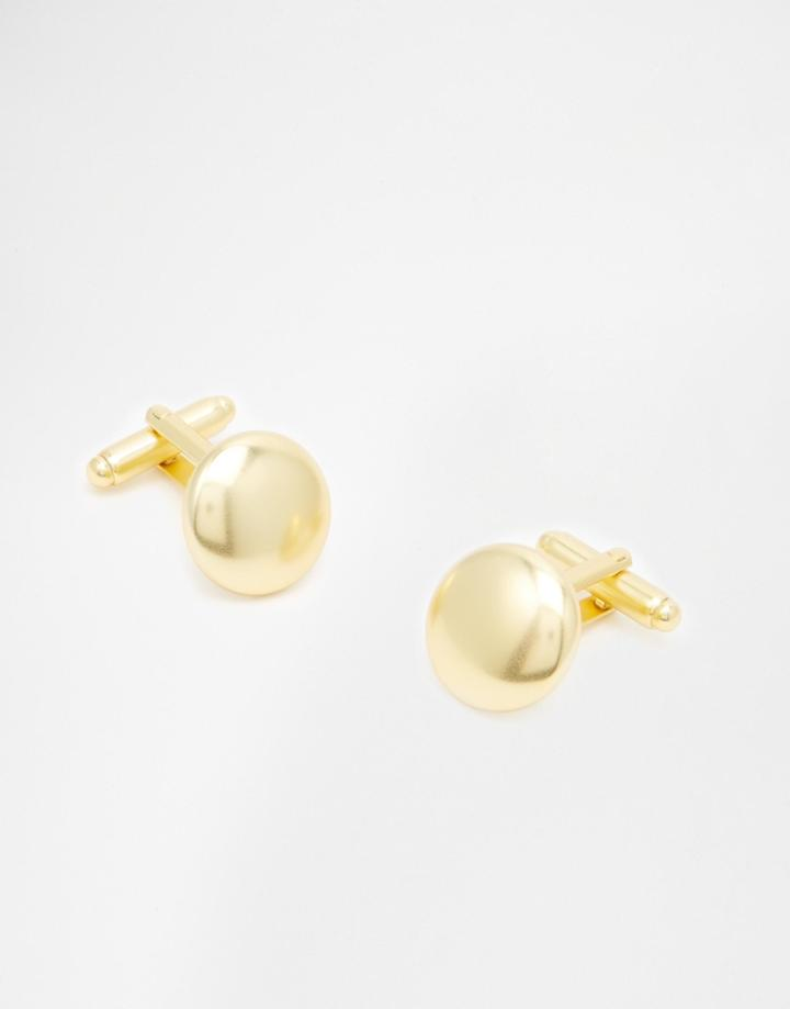 Asos Gold Plated Circle Cufflinks - Gold