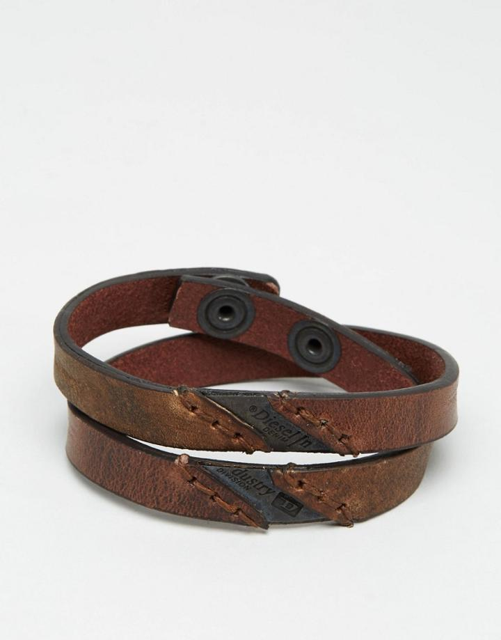 Diesel Aline Leather Wrap Bracelet - Brown