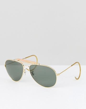 Reclaimed Vintage Inspired Aviator Sunglasses In Gold - Gold