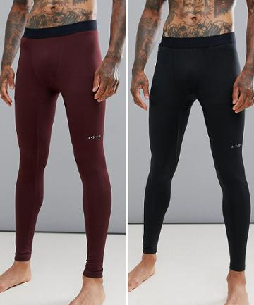 Asos 4505 Running Tights With Quick Dry 2 Pack Save - Multi