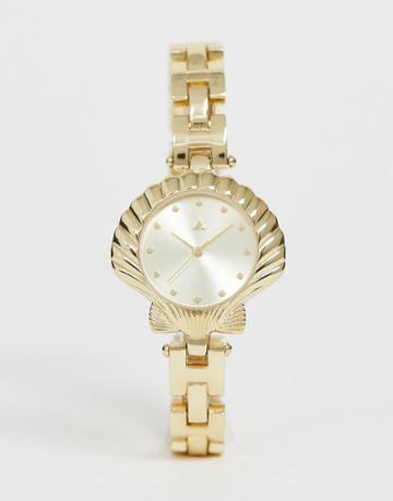 Asos Design Watch With Shell Case And Chain Bracelet In Gold Tone
