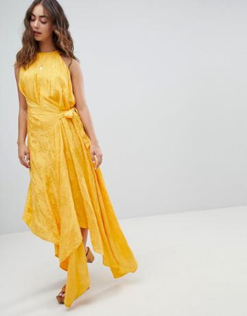 Asos Design Drape Midi Dress With Tab Side In Soft Jacquard - Orange