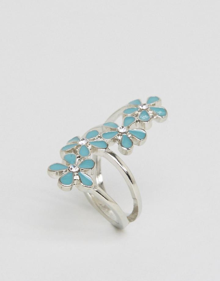 Asos Enamel Flower Ring - Silver