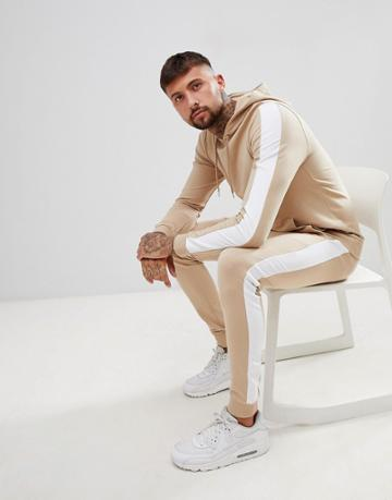 Asos Design Tracksuit Muscle Hoodie/super Skinny Joggers With Side Stripes - Beige