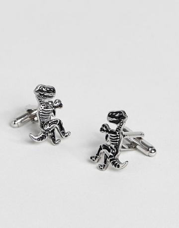 Asos Dinosaur Cufflinks In Silver - Silver