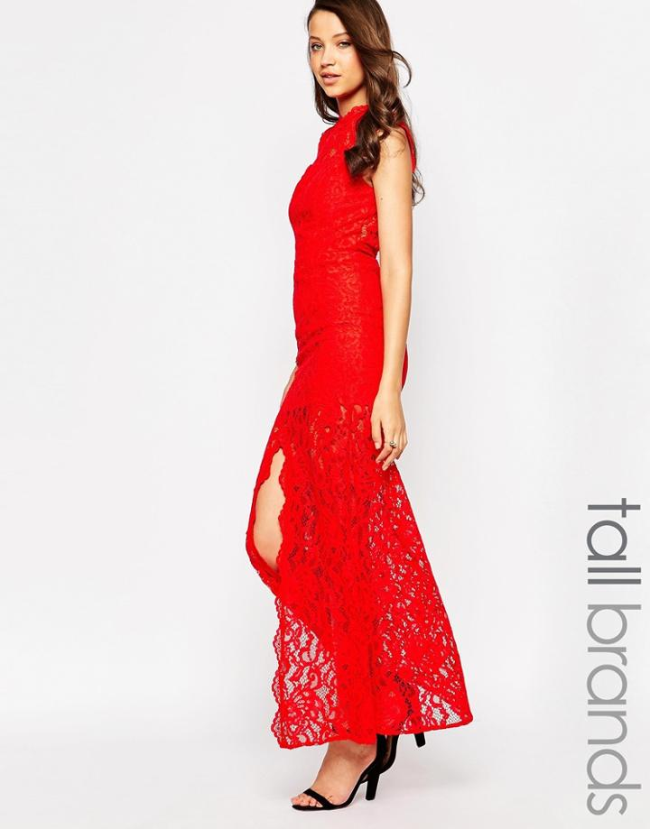 Jarlo Tall High Neck Lace Maxi Dress - Red