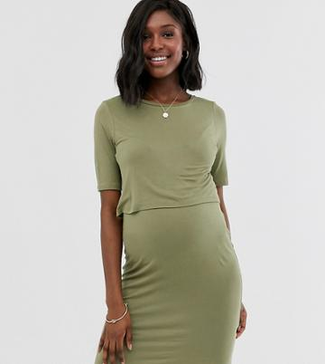 New Look Maternity Double Layer Nursing Dress In Khaki - Green