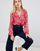 Vila Floral Sheer Blouse-multi