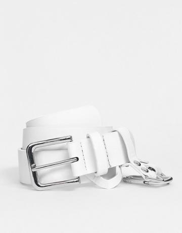 Asos Design Dogclip And Chain Waist And Hip Belt - White