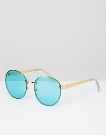 Asos 9ct Gold Round Fashion Sunglasses With Turquoise Laid On Lens - Gold