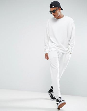Asos Textured Jogger With Turn Up Cuffs - White
