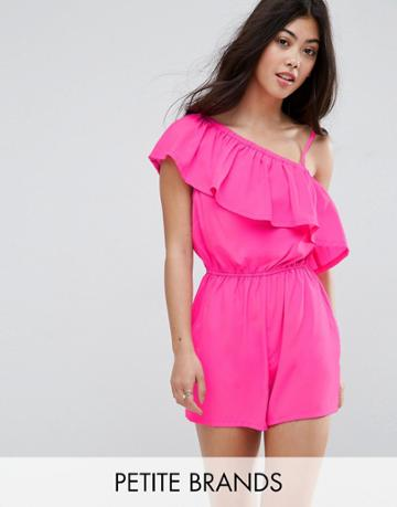New Look Petite Floral Bardot Romper - Pink