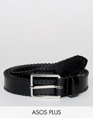 Asos Plus Smart Slim Leather Belt With Whip Stitching - Black