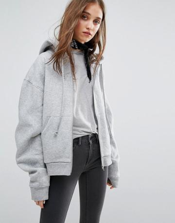Weekday Zip Through Hoodie - Gray