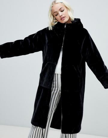 Monki Faux Fur Zip Hooded Coat In Black - Blue
