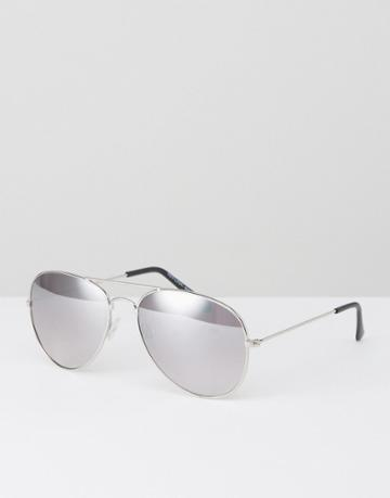 New Look Aviator Sunglasses In Silver - Silver
