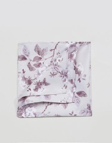 Asos Pocket Square In Gray And Lilac Floral - Gray
