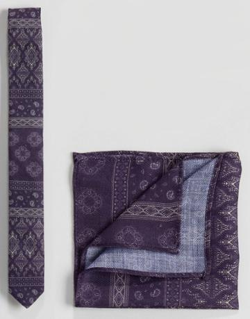 Asos Textured Paisley Tie & Pocket Square Set In Purple - Purple