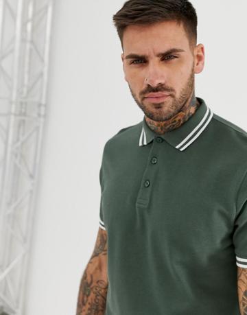 Asos Design Pique Polo Shirt With Tipping In Khaki - Green