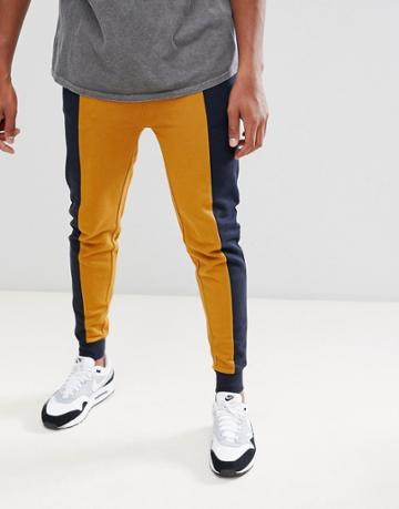 Asos Design Skinny Joggers With Color Blocking - Navy