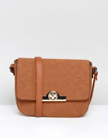 New Look Round Lock Saddle Bag - Tan