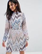 Ax Paris High Neck Ruffle Front Multi Print Dress - Multi