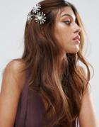 Asos Metal Flower Side Hair Clip - Silver