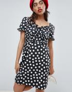 Lost Ink Dress With Frill Detail In Polka Dot - Black