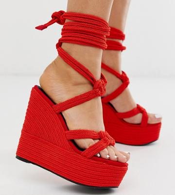 Asos Design Wide Fit Will Power Rope Wedges In Red - Red