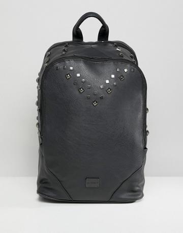 Spiral Balmoral Backpack In Faux Leather With Studs - Black