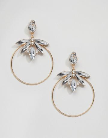 New Look Stoned Skinny Hoop Earrings - Gold