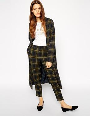 Asos Maxi Duster Coat In Check - Multi