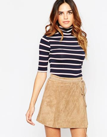 Asos Top With Turtleneck In Stripe