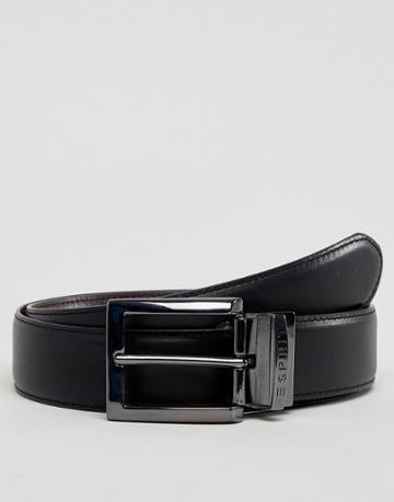 Esprit Smart Leather Reversible Belt In Black And Brown - Black