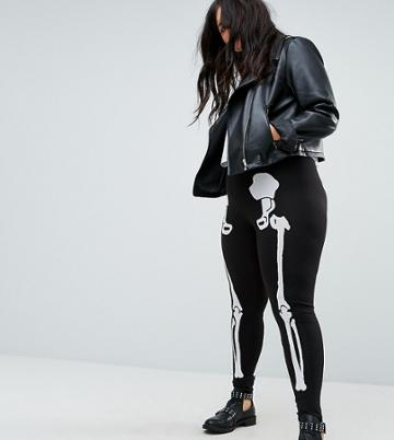 Asos Curve Halloween Leggings With Skeleton Print - Black