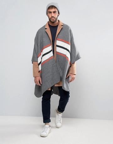 Asos Brushed Cape With Stripe - Gray