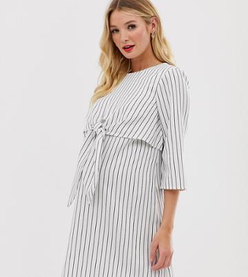 Asos Design Maternity Nursing Tie Front Mini Dress In Stripe - Multi