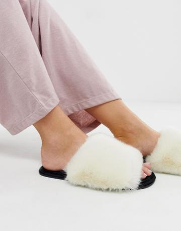 Asos Design Neela Faux Fur Slippers - Beige