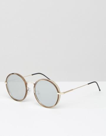 Asos Round Sunglasses With Mirrored Lens And Side Cap - Green
