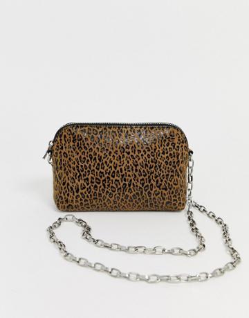 Asos Design Suede Chain Cross Body Bag In Leopard Print